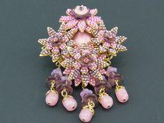 """Stanley Hagler """"Pink Amethyst Floral Drop Brooch   eBay"""