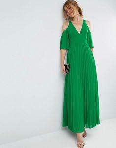ASOS   ASOS Cold Shoulder Pleated Maxi Dress