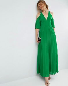 ASOS | ASOS green Cold Shoulder Pleated Maxi Dress