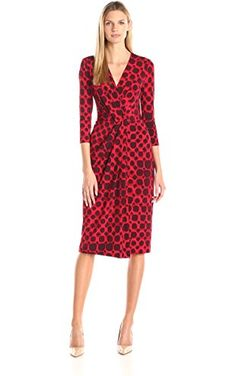 Anne Klein Women's Printed Jersey V-Neck Draped Dress with 3/4 Sleeve, Memling Red Combo, 2 ❤ Anne Klein Women's Dresses