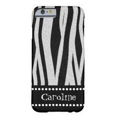 "Zebra Stripe Print ""Add Your Name"" iPhone 6 Case"
