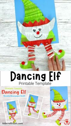 DANCING ELF CRAFT - An adorable interactive Christmas elf craft for kids. This Christmas craft for kids is easy to make with the printable template and old newspaper. Wiggle the elf's body to watch his legs dance around! Such a fun recycled craft. #kidscraftroom #christmascrafts #kidscrafts #kidsactivities #recycledcrafts #kidscrafts #printable #printablecrafts #elf #elfcrafts Halloween Arts And Crafts, Halloween Crafts For Toddlers, Christmas Crafts For Gifts, Diy Halloween Decorations, Toddler Crafts, Preschool Crafts, Fall Crafts, Christmas Elf, Newspaper Crafts
