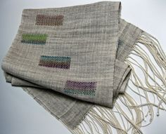 she treadles (blog) by margery meyers haber  linen wrap with handspun inlays - lovely!