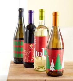 Dress up bottles of gift wine for a special occasion with our free, printable wine bottle labels in festive holiday themes. Browse our collection, and download and print your favorites. Cut out the labels and wrap around your favorite bottle of vino, adhering with double stick tape.