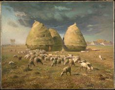 Jean-François Millet (French, 1814–1875). Haystacks: Autumn, 1874. The Metropolitan Museum of Art, New York. Bequest of Lillian S. Timken, 1959 (60.71.12) | In Autumn, with the harvest finished, the gleaners have departed and the sheep are left to graze. Beyond the haystacks lie the plain of Chailly and the rooftops of Barbizon.