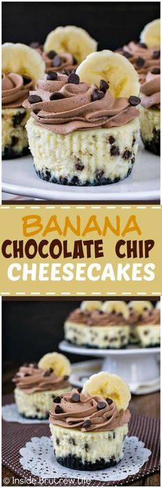 Banana Chocolate Chip Cheesecakes