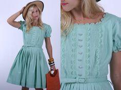 Vintage 50s Dress / 1950s Cotton Dress / Mint Green SunDress w/ Pleated Skirt and Belt M
