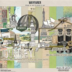 Wayfarer by Maya de Groot is a travel kit to scrap your holiday pictures. It contains handdrawn elements of iconic landmarks.