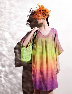 Haat (Issey Miyake brand) -- Cut and Knot series, spring 2012 Korea Fashion, Japan Fashion, Textile Patterns, Textiles, Issey Miyake, Tie Dye Skirt, Editorial Fashion, Spring Summer, Style Inspiration