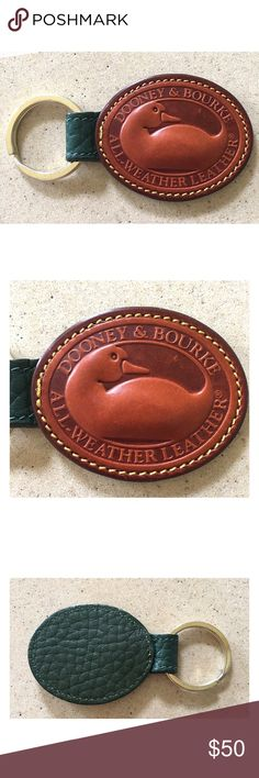 """VINTAGE DOONEY AND BOURKE BIG DUCK KEY CHAIN Vintage D&B Big Duck Key Chain in Ivy with British Tan.  Excellent condition.  Very minor wear to the leather duck patch.  No wear to the trim.  What a great piece to add to any vintage DOONEY collection.  ALL MEASUREMENTS ARE APPROXIMATE: 3.0"""" L X 2.0"""" W Dooney & Bourke Accessories Key & Card Holders"""