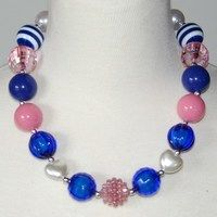 Pink and Blue Chuncky Necklace only $6.99  https://www.facebook.com/gabskiaccessories www.gabskia.com