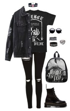 """King for a Day - Pierce The Veil"" by grungeclothes ❤ liked on Polyvore featuring Topshop, Dr. Martens and Hot Topic"