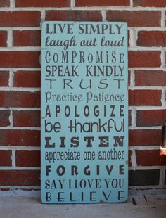 Family Rules Sign - Live Simply Typography Word Art  Sign.  via Etsy.