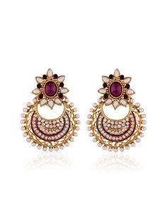 Exquisite gold plated brass metal #Earrings with pearls, #Stones, kundan, mina work. Item Code: JRUM541 http://www.bharatplaza.com/new-arrivals/jewellery.html