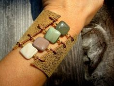 Handmade Boho Leather and Gemstone Cuff by SmitherineDesigns