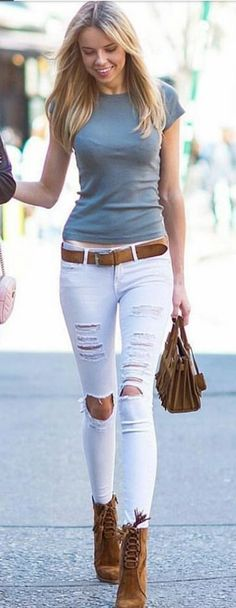 #summer #outfits Grey Tee + White Ripped Skinny Jeans + Brown Booties