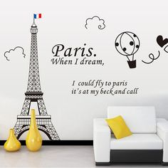 Paris Eiffel Tower Wall Decal Wall Sticker Wall decor by UniTime