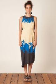 vestido dobradura blooming azul