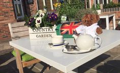 Roger Cotton is celebrating the Queens Birthday with all things English in our Al Fresco area. #teddy #queen #birthday #sun #alfresco #knutsford #cheshire