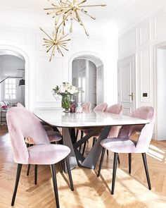 Contemporary Dining Room Makeover - Apartment Number 4 - Home Decoration Dining Room Wall Decor, Dining Room Design, Dining Room Chairs, Dining Room Furniture, Dinning Room Light Fixture, White Dining Room Table, Black And White Dining Room, Elegant Dining Room, Dining Nook