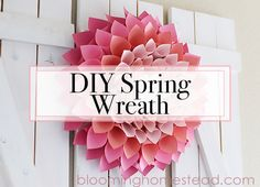 Check out this adorable and affordable DIY Spring Wreath tutorial.This paper dahlia wreath is so easy to make following this step by step tutorial.