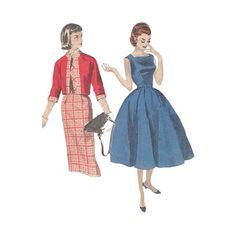 1950s Misses Fit and Flared Dress Bust 34 Butterick 7648
