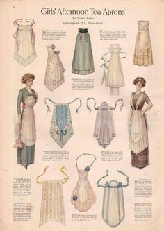 The one the lady is wearing on the left. I have plans for one like that --- 1911 Ladies Home Journal Print Girl's Afternoon Tea Aprons Actresses Dresses Historical Costume, Historical Clothing, Edwardian Fashion, Vintage Fashion, 1900s Fashion, Fashion Fashion, Korean Fashion, Fashion Tips, Costura Vintage