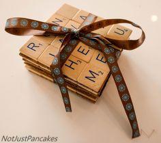 Gjør noe med scrabble spillet ditt Scrabble Coasters, Diy, Bricolage, Do It Yourself, Homemade, Diys, Crafting