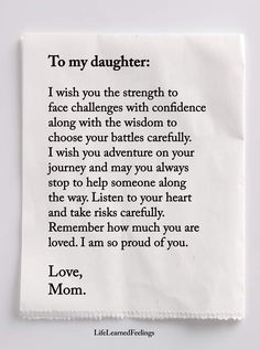 Daughter love, my beautiful daughter, inspirational quotes for daughters, g Mother Daughter Quotes, I Love My Daughter, Mother Quotes, Beautiful Daughter Quotes, Letter To My Daughter, Happy Birthday Daughter From Mom, Brother Birthday, Daddy Daughter, Brother Sister