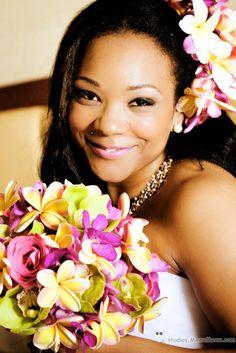 bride hirestyle and make up, long hair, fresh plumeria flower hair piece http://studios.MeewMeew.com Hawaii, Maui, Oahu, Big Island, Kauai Wedding Photorapher - MeewMeew Studios
