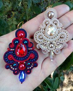Boho Jewelry, Jewelry Crafts, Jewelery, Jewelry Necklaces, Women Jewelry, Soutache Necklace, Tassel Earrings, Earrings Handmade, Handmade Jewelry