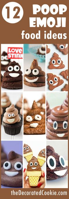 A roundup of popular poop emoji food ideas with links to tutorials. Great ideas for an emoji party! Emoji Food, Emoji Cake, Poo Emoji Cupcakes, Savoury Cake, Mini Cakes, Pokemon, Clean Eating Snacks, Smiley, Biscotti