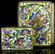 Antique Cloisonne Cigarette & Match Box Holders Russian Gilded Silver and Shaded Enamel