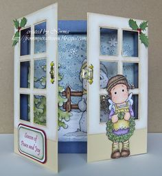 door with acetate - winter scene card - bjl - I would love to attempt this for Christmas cards, better start now, I may not even finish!