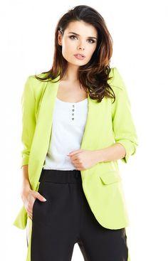 AWAMA Elegancki żakiet limonka A267 Blazer, Casual, Jackets, Women, Fashion, Down Jackets, Moda, Fashion Styles, Blazers