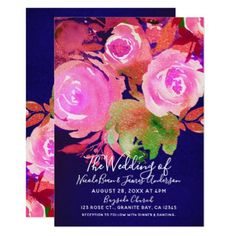 Bold Bright Modern Spring Floral Bouquet Wedding Card - floral style flower flowers stylish diy personalize