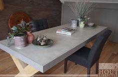 Beton Cire met Eiken kruispoten! Een pareltje voor in je huis! Dining Table, Lifestyle, Furniture, Home Decor, Decoration Home, Room Decor, Dinner Table, Home Furnishings, Dining Room Table