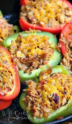 Chicken Fajita Stuffed Peppers...brown rice or quinoa in place of spanish rice for clean eats