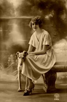 A woman and her sighthound. Photos With Dog, Dog Pictures, Magyar Agar, Hounds Of Love, Greyhound Art, Black And White Dog, Vintage Dog, Old Dogs, Dog Life