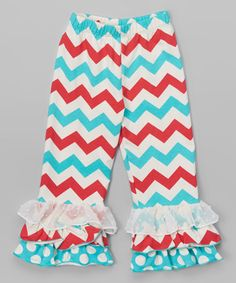 Another great find on #zulily! Red & Blue Chevron Ruffle Pants - Infant, Toddler & Girls #zulilyfinds
