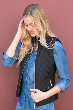 You'll stay warm and so very trendy this fall with the Quilted Puffer Vest from White Plum!