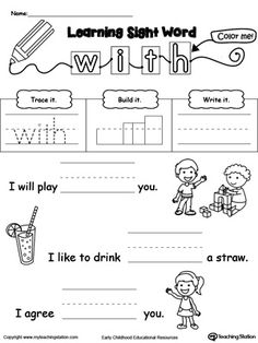 Practice recognizing the sight word WITH with My Teaching Station Learning Sight Words printable worksheet. Your child will practice recognizing the letters that make up the sight word by tracing, writing and finally reading it in a sentence.