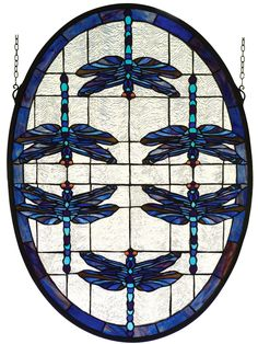 22 Inch W X 30 Inch H Dragonflies Oval Stained Glass Window. 22 Inch W X 30 Inch H Dragonflies Oval Stained Glass WindowMULTICOLORED DRAGONFLIES DANCE ON A FIELD OF RIPPLED ICE BORDERED WITH PLUM AND SAPPHIRE. THEIR AMBER EYESGIVE A LIVELY GLOW TO THIS HAND CRAFTED ART GLASS MEYDA ORIGINAL DESIGN OF A FAVORITE SUBJECT OF LOUISCOMFORT TIFFANY. BRASS HANGING BRACKET AND CHAINS ARE INCLUDED. Theme:  NOUVEAU INSECTS Product Family:  Dragonflies Oval Product Type:  WINDOWS Product Application…
