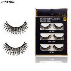 Cheap False Eyelashes 3Pair/Lot Crisscross Eye Lashes Extensions Black Thick Eye Lash Voluminous Fake Eyelash Makeup Beauty Lash