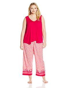 Oscar de la Renta Pink Label Womens Plus Size Pajama Set Pink Watercolor  Mosaic Border Print a4502a116