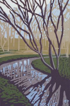 Chearsley River - linocut - Alexandra Buckle, U.K.