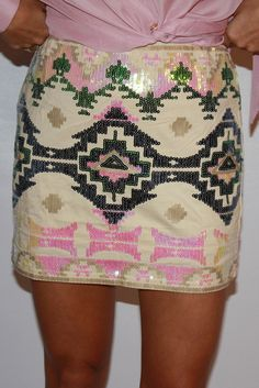 sequin aztec mini skirt ( my daughter just scored this at a favorite second hand shop LP )