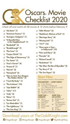 Oscars 2020: Download our printable movie checklist