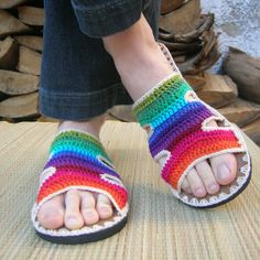 Rainbow Crochet SANDALS w/ natural suede boho by lepiedleger. , via Etsy.