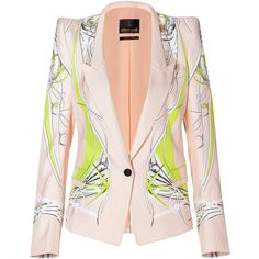 ROBERTO CAVALLI One Button Silk Blazer in Yellow/Pink-Multi ($2,650) ❤ liked on Polyvore